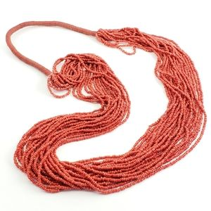 Artisan Necklace Orange Seed Beads Multi Strand